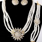 Stunning Rhinestone Pearls Bracelet, Necklace & Earring Set Gold Tone