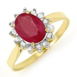 Certified-1.78 ct Ruby & Diamond Ring Yellow Gold