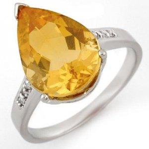 Certified-5.1 ct Citrine & Diamond Ring White Gold