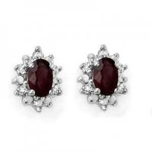 Certified 0.61 ctw Ruby & Diamond Earrings Yellow Gold