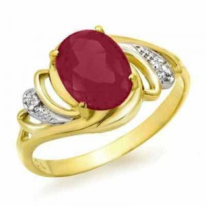 Certified-2.25 ct Ruby & Diamond Ring 14K Y Gold