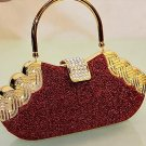 High End Quality Red Clutch Bag Genuine Austrian Crystal Rhinestone