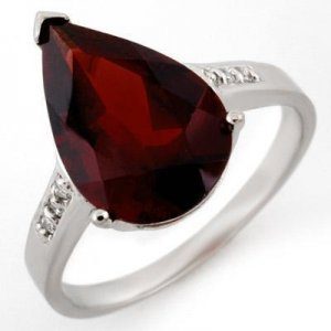 Certified-5.1 ctw Garnet & Diamond Ring White Gold