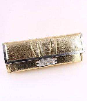 Gold Faux Leather Evening Clutch Bag Austrian Rhinestones Crystal