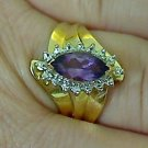 Yellow Gold 1.35 ctw Amethyst & Diamond Cocktail Ring