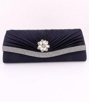 Dark Blue Flower Evening Clutch Bag with Austrian Crystal Rhinestone