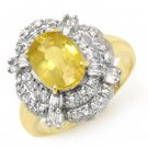 Certified-3.05ctw Sapphire & Diamond Ring 14K Yellow Gold-Retail $2,600.00