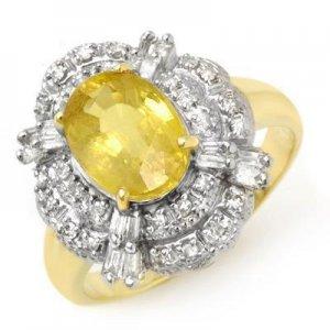 Certified-3.05ctw Sapphire & Diamond Ring 14K Yellow Gold-Retail $2,600.00