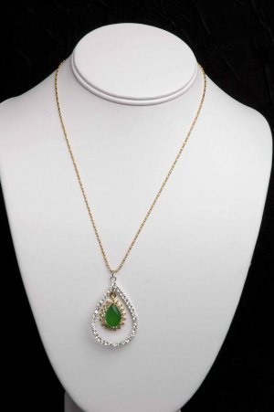 Incredible Set - CZ & Green Lucite Pendant on Chain plus CZ Dangle Earrings-WOW!