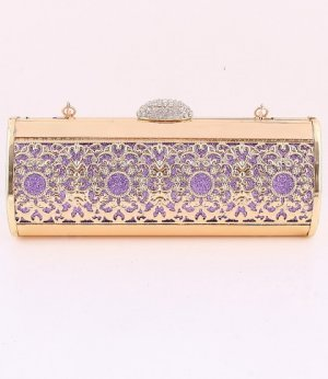 Filigree High End Quality Purple Evening Bag-Austrian Rhinestones Crystal