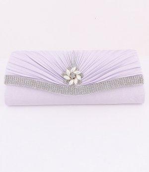 Silver Flower Evening Clutch Bag with Austrian Crystal Rhinestone