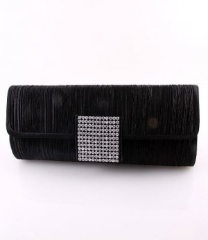 Black Evening Satin Clutch Bag with Austrian Crystal Rhinestone Square