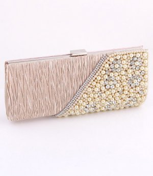 Champagne - Evening Clutch Bag-Pearl-Crystal Rhinestone on Front Side-Satin