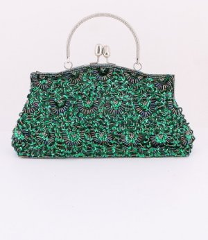 Green Glass Bead & Sequins Evening Bag - Silver Tone Frame