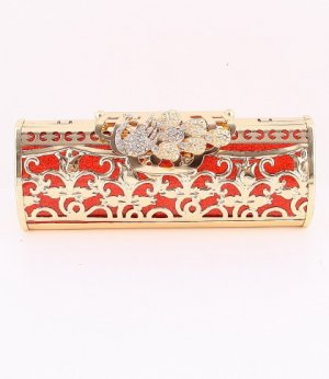 Peacock Filigree High Quality Red Evening Bag-Austrian Rhinestones Crystal
