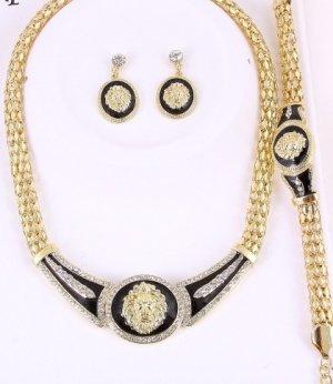 Lion's Head Necklace, Bracelet & Earrings Set with clear Rhinestone