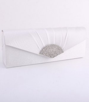 Ivory Evening Satin Clutch Bag with Austrian Crystal Rhinestone Triangle