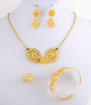22k Gold Plated Necklace, Bracelet, Earring & Ring Set - No 32