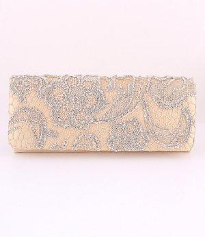 Evening Satin Clutch Bag Embroider Flower w/ Austrian Crystal Rhinestone-Gold
