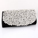 Black Evening Clutch Bag - Pearl & Rhinestone On The Front