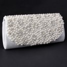 White Evening Clutch Bag - Pearl & Rhinestone On The Front