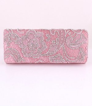 Evening Satin Clutch Bag Embroider Flower w/ Austrian Crystal Rhinestone-Pink
