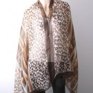 Very Large Animal Print Cotton Shawl - Brand New - Brown Color Mix