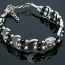 "Beautiful 7"" Tibet Silver and Black Onyx Bracelet"