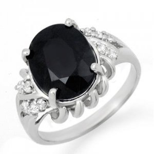 Certified-4.83 ctw Sapphire & Diamond Ring W Gold