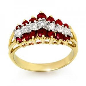 Certified-1.06 ctw Ruby & Diamond Ring Yellow Gold-Retail $930.00