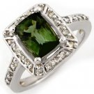 Certified-2.40ct Green Tourmaline & Diamond Ring 14K Gold-Retail $2,210.00