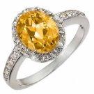 Certified-2.10 ctw Citrine & Diamond Ring White Gold-Retail $680.00