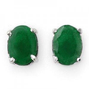 Certified 2.0 ctw Emerald Stud Earrings 14K White Gold