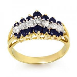 Certified-1.02 ctw Sapphire & Diamond Ring Yellow Gold-Retail $880.00