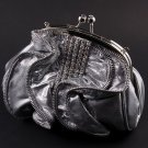 Satin Silver Evening Clutch Bag Silver Tone Frame Austrian Rhinestone Crystal