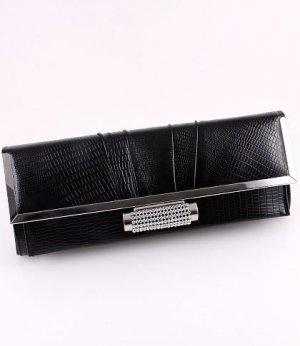 Black Faux Leather Evening Clutch Bag Austrian Rhinestones Crystal