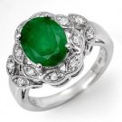 Certified-2.75 ctw Emerald & Diamond Ring White Gold-Retail $1,740.00