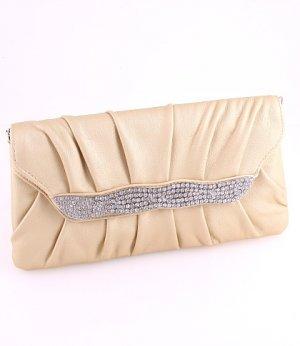 Gold Evening Satin Clutch Bag with Austrian Crystal Rhinestone