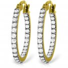 14K WHITE OR YELLOW SOLID GOLD HOOP EARRING WITH NATURAL 0.81 ctw DIAMONDS