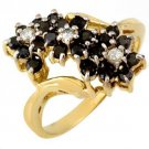 Beautiful Natural 1.25 ctw White & Black Diamond Ring 10k Yellow Gold