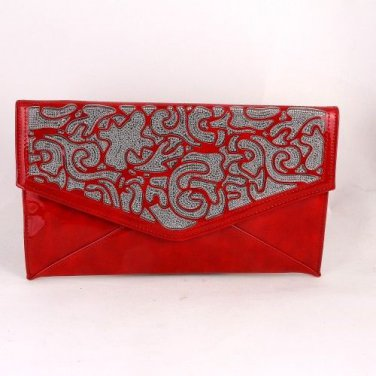 High End Quality Faux Leather Clutch Bag w/ Crystal Stones  - Choice of 4 colors