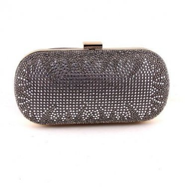 Crystal Rhinestone On One Sides Fashion Clutch Bag - Silver Mixed