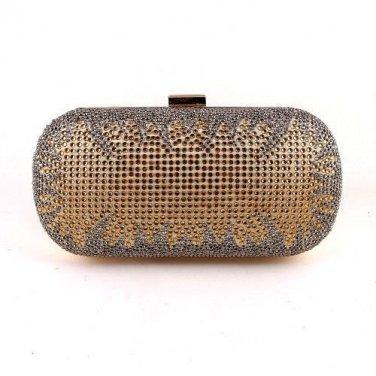 Crystal Rhinestone On One Sides Fashion Clutch Bag - Gold Mixed