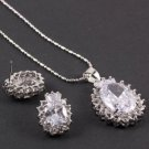 Unique Necklace & Earrings Set with Clear AAA Cubic Zirconia with Chain
