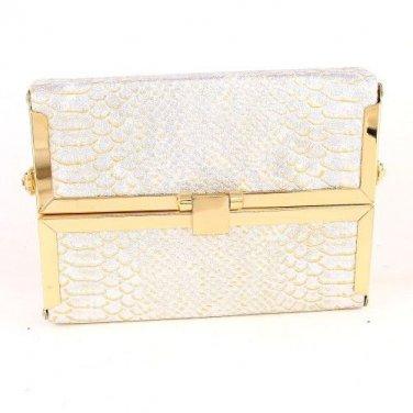 High End Quality Leatherette Case Fashion Clutch Bag - Animal Print - Beige