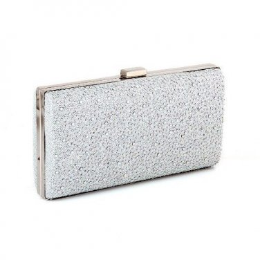 High-End-Quality Evening Clutch Bag with - Glitter Sequins Silver