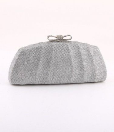 Evening Clutch Bag with Bow Crystal Ornament  - Glisten Silver