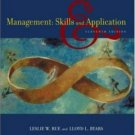 Management : Skills and Application 11th by Leslie W. Rue 0072976349
