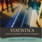 Statistics for Management and Economics Abbreviated 6th Edition by Keller 0534391885