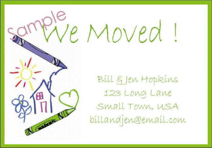 Just Moved Moving Announcements Personalized Cards Crayons